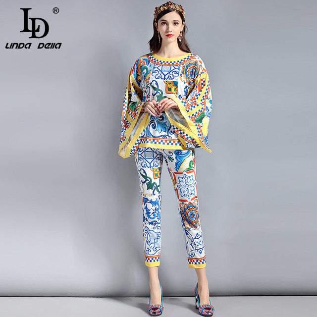 85b4e18c547 Fashion Designer Suit Sets Women s Loose Flare Sleeve Charming Floral  Printed Pullover Top and Casual Long