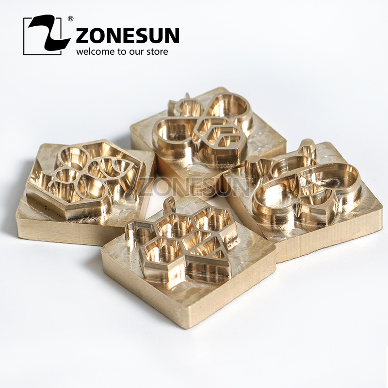 ZONESUN Stamping Mold For Leather Wood Plastic Cake Hot Foil Custom Logo Customize Mold Tool Branding Iron Heating Press Mould