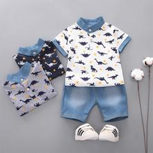 Baby Boy Suits Printing Short-sleeve T-shirts and Pants Cute Dinosaurs Cartoon Cotton Clothes 2pcs