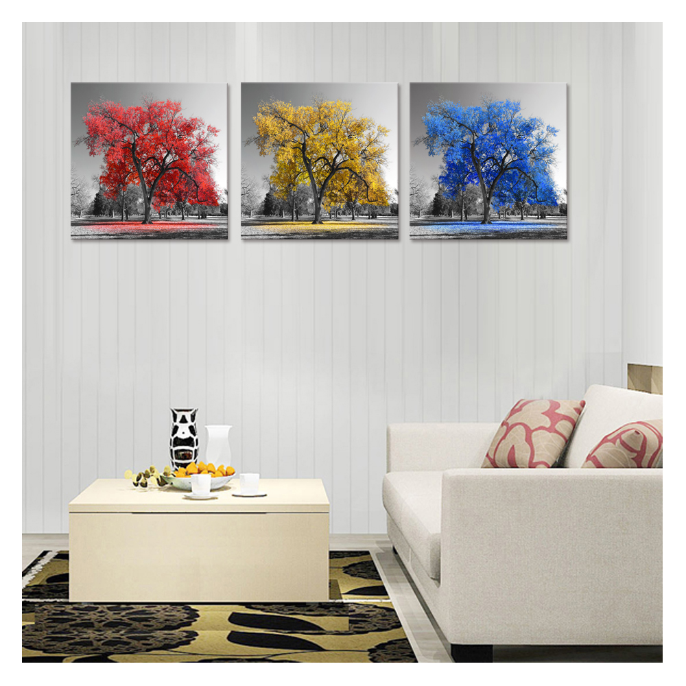Black and White Autumn Tree Painting Prints Creative Canvas Wall Art ...