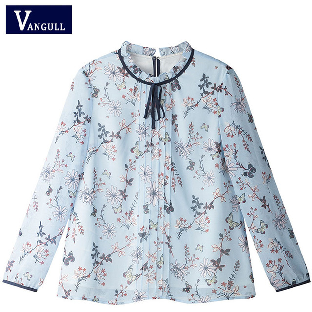 9d5532d6d853e 2017 Woman Chiffon Blouse 3 4 Sleeve New Arrivals Casual Fashion Ruffled  Print Floral Tops Women s Spring Summer Shirts