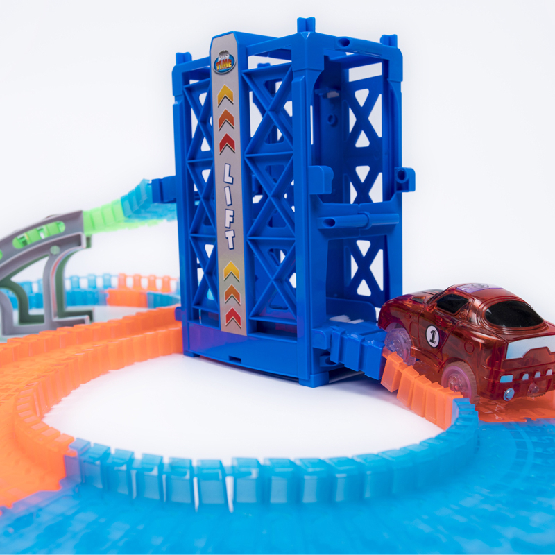 New 160pcs Glowing Race Tracks Set Red Cars Elevator Ramp Kids