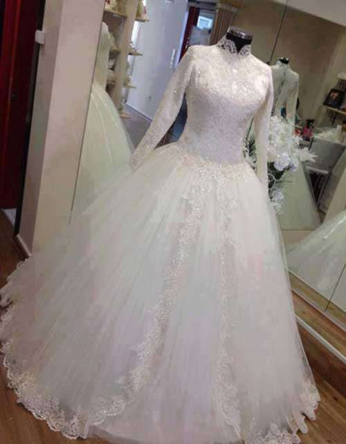 2016 Vintage Real Sample Long Sleeve Muslim Wedding Dress With font b Hijab b font Veil