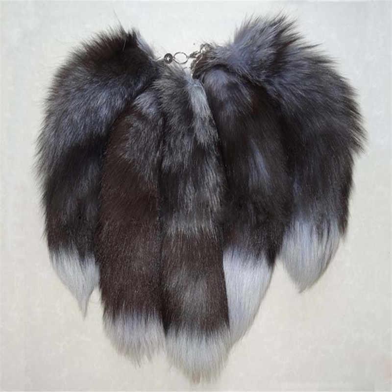 Bolso de mujer encanto de cola llavero largo de piel de zorro bolso de cola colgante accesorios peludo encanto para bolsos llaveros venta al por mayor