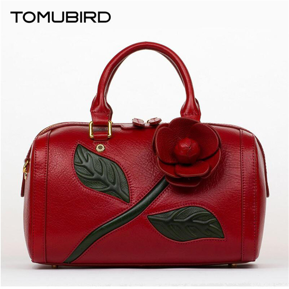 Tomubird genuine leather tote for women Handwork three-dimensional flowers brand female bag large capacity handbags sac a main a three dimensional embroidery of flowers trees and fruits chinese embroidery handmade art design book