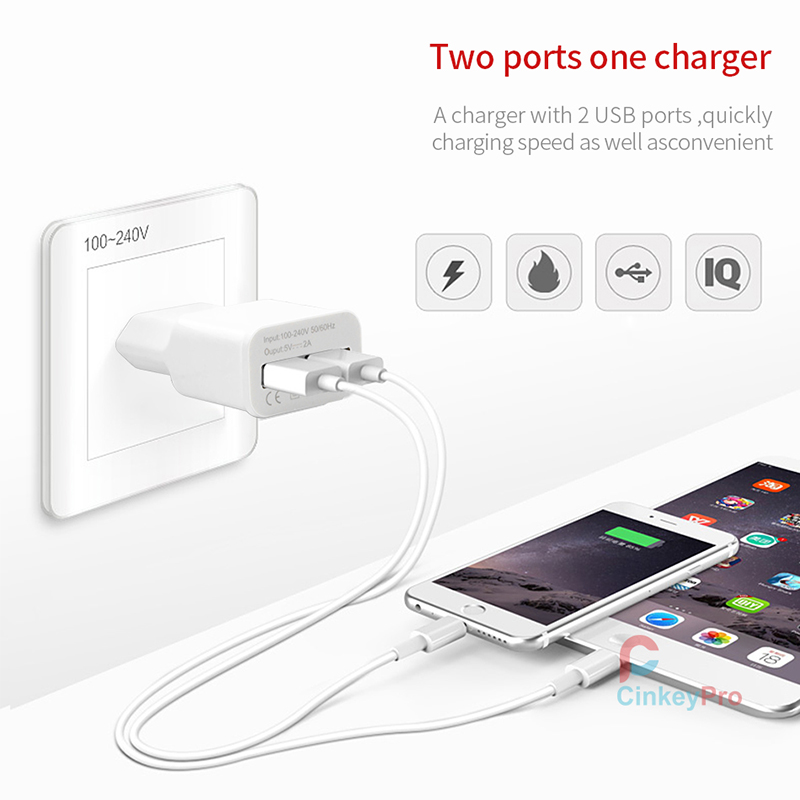 CinkeyPro 2 Ports Travel Adapter Charger EU Plug Multiple Wall USB Charging Smart Mobile Phone Device For iPhone Samsung