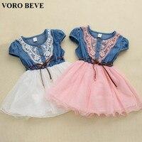 2014 Hot Sale New Fashion Girls Baby Lace Belt Tutu Cowboy Dress Children Patchwork Dresses For