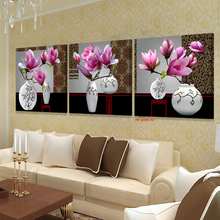 XIN SHENG MEI Oil Painting Modular Pictures On The Wall Sitting Room Poster Canvas Art Pink Orchids Decoration Art3P042