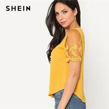 SHEIN Ginger Flower Mesh Sleeve Blouse Women Round Neck Short Sleeve Curved Hem Casual Top 2018 Summer Elegant Blouse