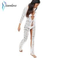 Slit Design California Beachwear White Sheer Lace Maxi Kaftan Beach Long Drses Fashion Holiday Clothes L51293