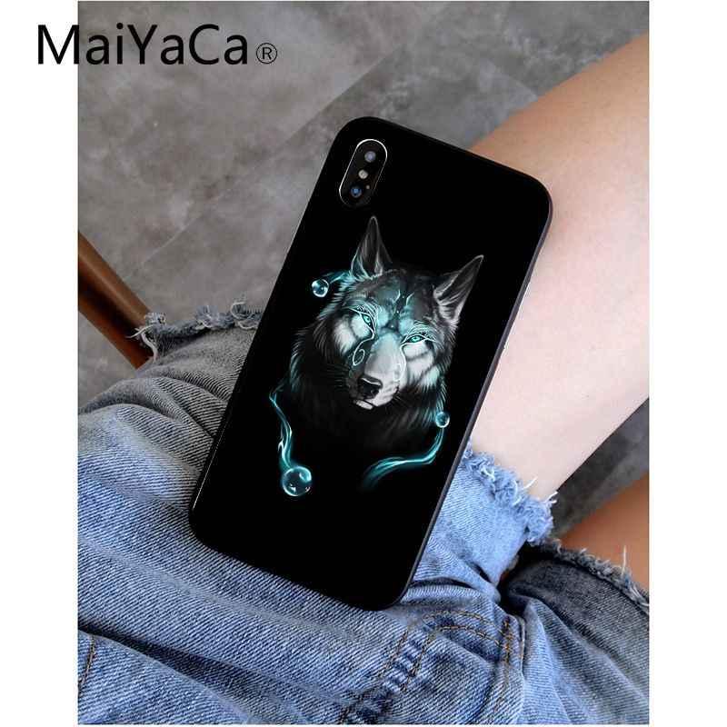 MaiYaCa Legal Lobo Do Moderno Preto TPU Silicone Macio Tampa Da Caixa de Telefone para o iPhone Da Apple 8 7 6 6 S Plus X XS MAX 5 5S SE XR Celulares