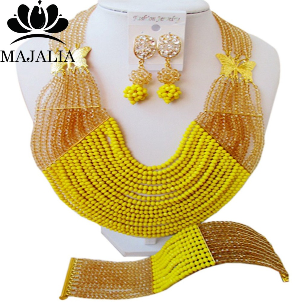 купить Fashion african jewelry set yellow nigerian wedding african beads jewelry set Crystal Free shipping Majalia-344 по цене 3605.91 рублей