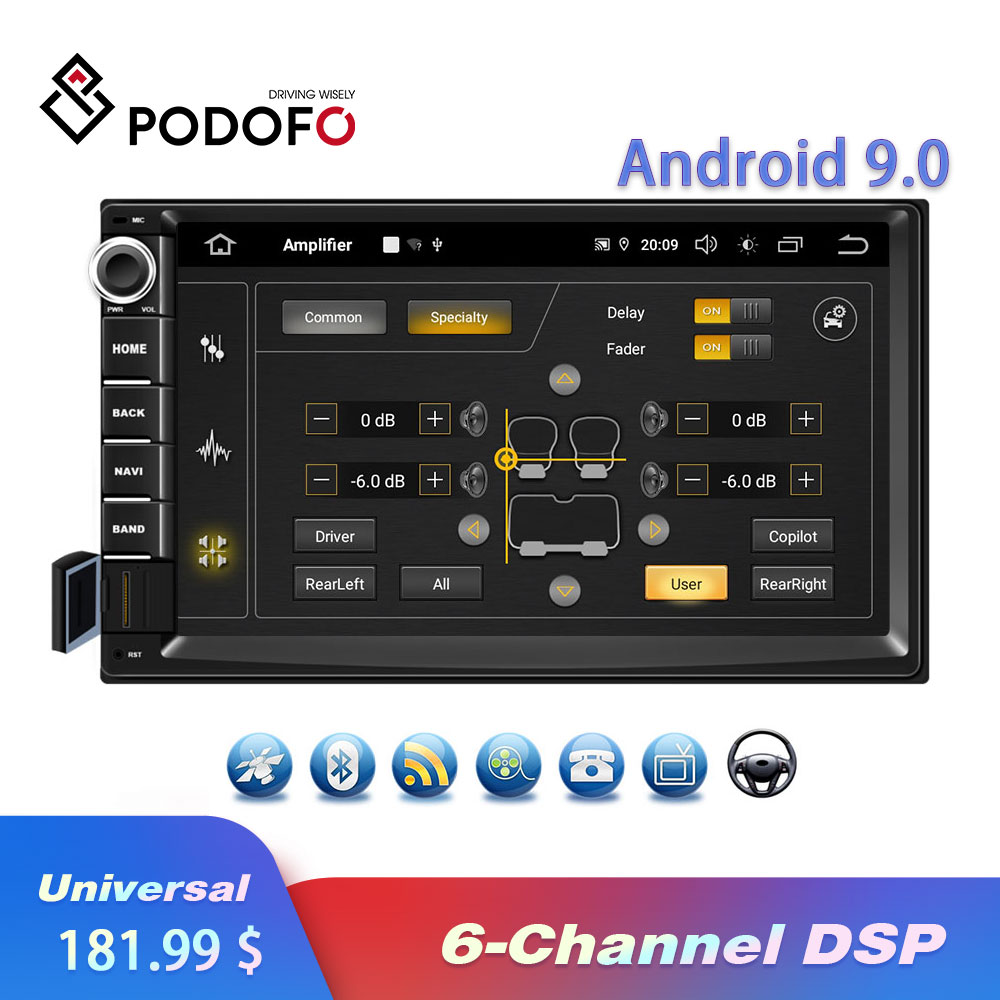 Podofo 2Din Android 9.0 Quad core Car Radio Autoradio 6 Channel DSP 2 Din Car Multimedia Player GPS WIFI MP5 Bluetooth USB AUX