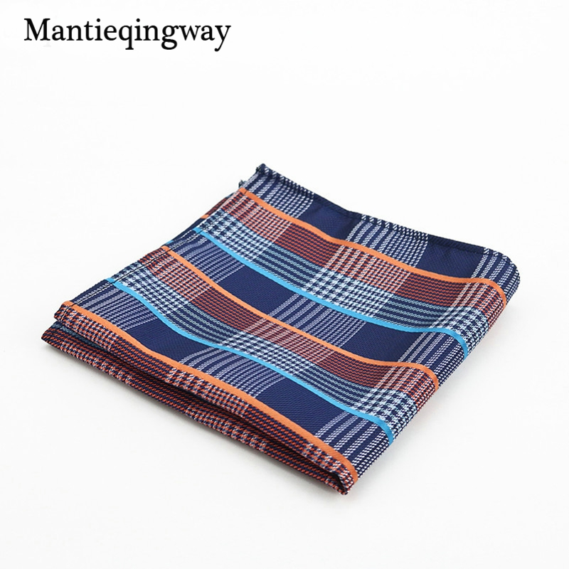 Mantieqingway Polyester Paisley Cashew Dot Plaid Business Handkerchiefs Wedding Or Party Pocket Square Towel For Mens Suit Hanky