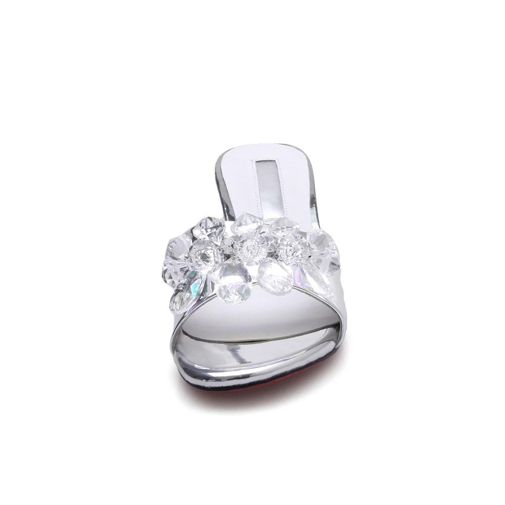 Mujer Tacón Genuino 2018 Silver Zapatos Morazora Mulas Cuadrado Interior sky Blue Zapatillas Cuero Nuevo Mujeres Elegante Cómodo De Verano Cristal TnISTW4