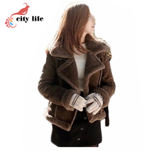 Composite Lamb Fur Lining Suede Motorcycle Jackets, Woman Winter Short Turn Down Collar British Warm Leather Coat