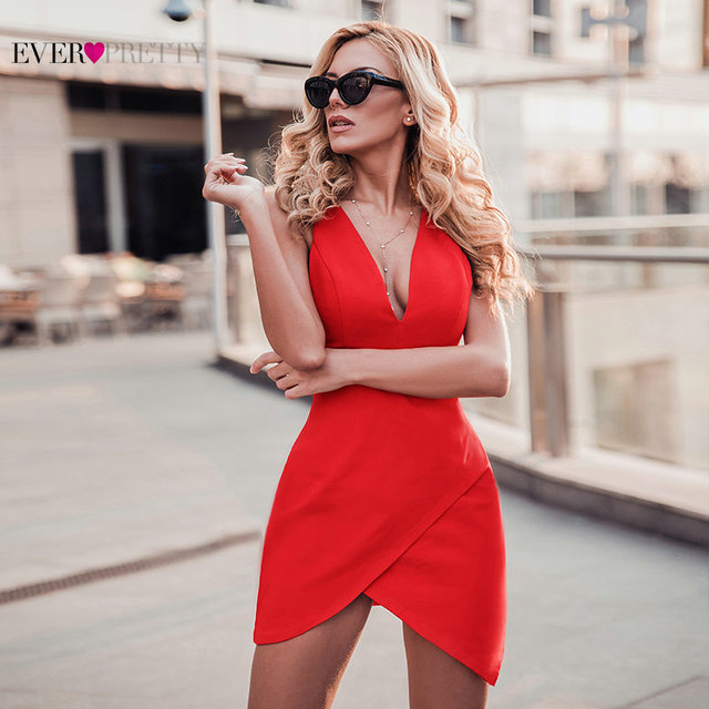 New Year Cocktail Dresses Short Ever Pretty 2020 Red Sleeveless Mermaid Mini 3 Styles Robe Cocktail Sexy Homecoming Dresses