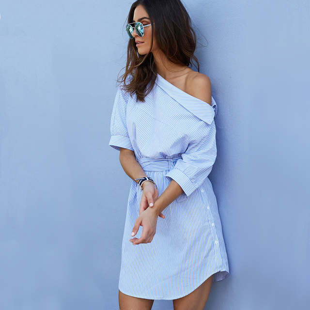 2017 Fashion one shoulder Blue striped women shirt dress Sexy side split Elegant half sleeve waistband Casual beach dresses
