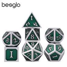 Многогранные металлические кости Набор цинковый сплав с эмалью твердого металла для игра DND Настольный РГП серебро и зеленый