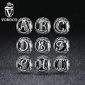 VOROCO Auténtica Plata de Ley 925 de La Vendimia de a a T, Clear CZ Encantos de la Letra Fit Pulseras Collares Joyería VRC C008-A