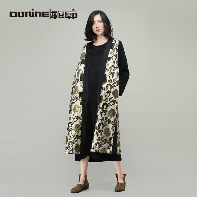 Outline Brand New Print  Overcoat National Trend Medium-Long Vintage Chinese Style Cardigan Women Loose  Autumn Vests L163Y901