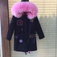 UK/USA/Italy/Germany beading black,army green,dark blue parka with thick warm fur lined raccoon fur collar can chose color coats