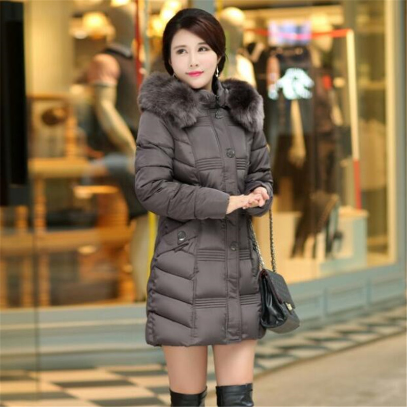 Winter Thickening Fur Collar Cotton Padded Hooded Medium-long Parkas Women Large Size High Quality Slim Jackets Coat TT2864 ftlzz new women winter jacket cotton coat slim large fur collar hooded parkas padded warm thickness medium long black overcoat