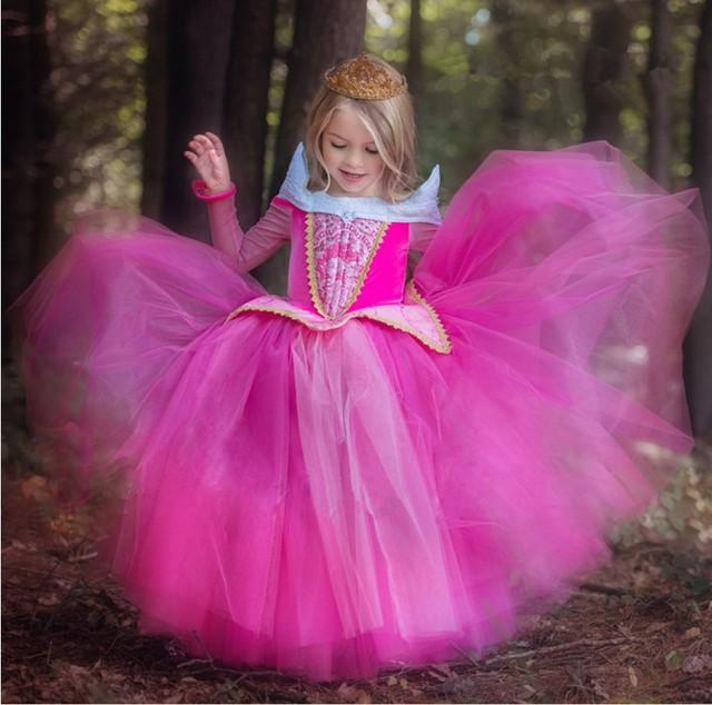 Nuevo Vestido de Las Muchachas de Halloween Cenicienta Vestidos Niños Vestido de Rapunzel Bella Durmiente Princesa Aurora Traje Del Partido Niños Ropa