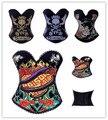 Burlesque Overbust Corset Bustier hot Skull Costume Top Lace up Boned Cotton Bustier Plus Size S-2XL