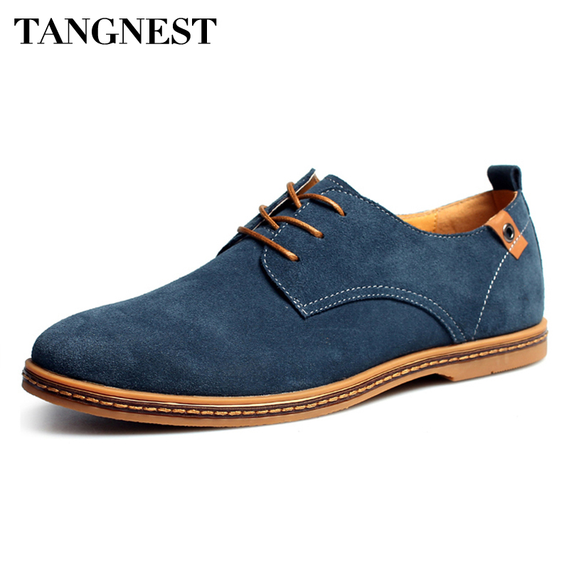 Tangnest Luxury Brand Men Oxfords Shoes 2018 New Men Lace Up Fur Flats Male   Suede     Leather   Dress Shoes Man Big Size 38-48 XMR352