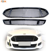 Sport Black Real Carbon Fiber Front Grille + Lower Bumper Grill Trim Replacement Honeycomb Mesh for Ford Mondeo Fusion 2013 2016