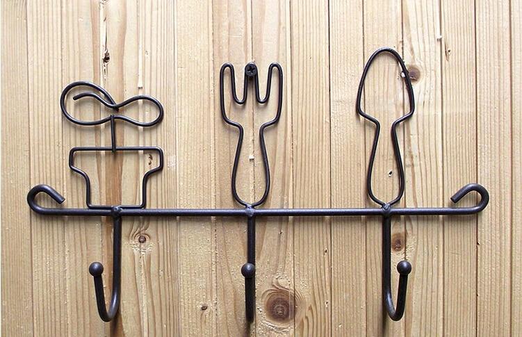 1 PC Rural Postoral Wrought Iron Metal Key Hook Holder Rack Coat Garment  Hooks Home Decor Storage Racks Holders for Living Room-in Storage Holders &  Racks ...