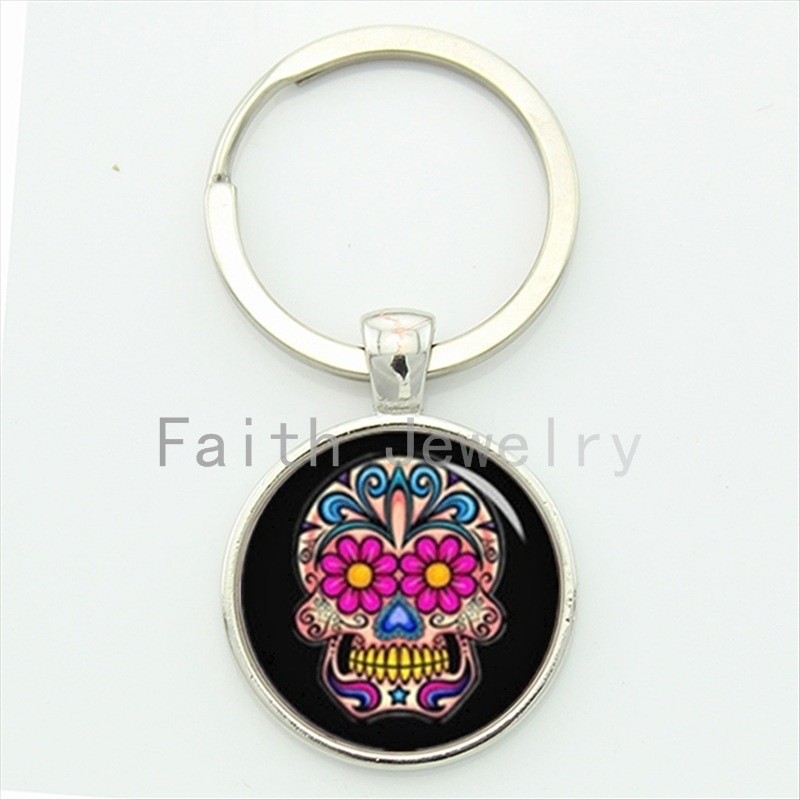 100% Quality Day Of The Dead Gifts Sugar Skull Key Chain Charming Bright Colorful Flowers Skull Pattern Keychain Festival Jewelry Kc587