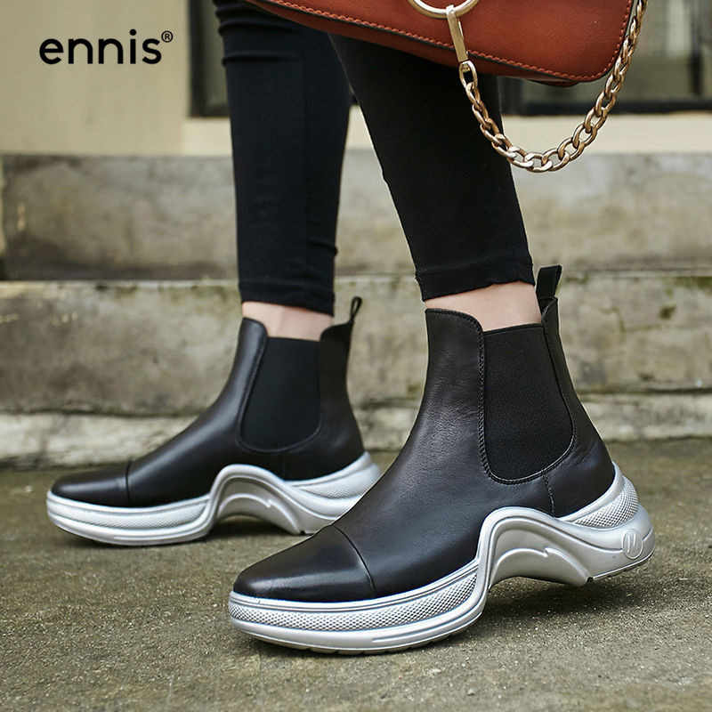 22642c0055d5 ENNIS 2018 Designer Black Sneaker Boots Women Platform Ankle Boots Genuine Leather  Autumn Winter Fashion Boots