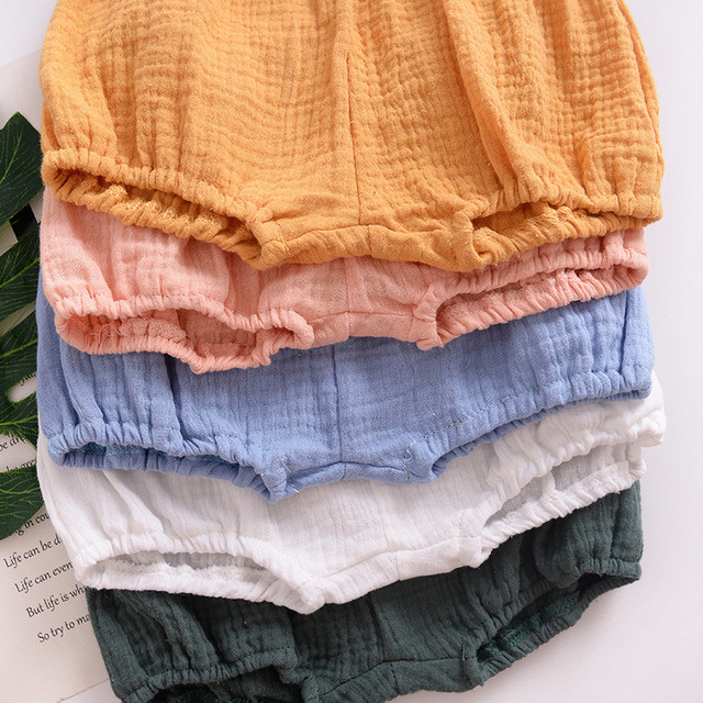 Linen Shorts for Boy Casual Solid Baby Bloomers Shorts PP Pants Boys Shorts Summer Thin Baby Boy Clothes Age for 6M to 3T