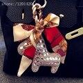 Color de plata brillantes Horse Tote etiquetas encanto Clean Rhinestone Bling del bolso de mano mujer encanto accesorios colgantes cadenas dominantes del coche