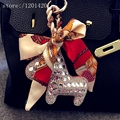 SIlver Color Sparkly Horse Tote Charm Tags Clean Rhinestone Bling Hand Bag Charm Woman Pendant  Accessories Car Key Chains