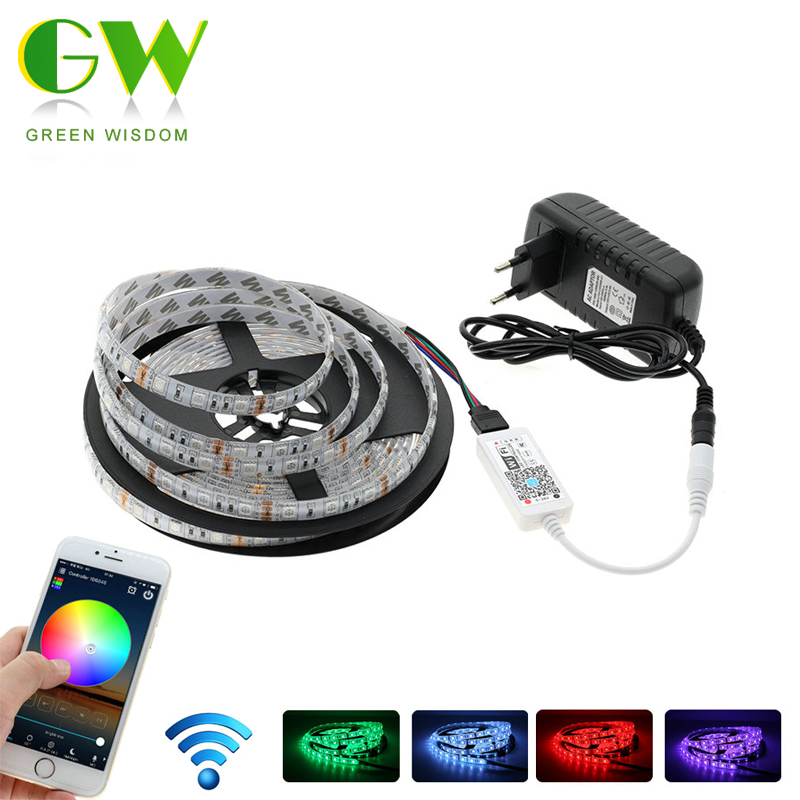 RGB LED Strip 5050 WiFi Controller Set, 5M RGB Flexible LED Light + WiFi RGB Controller + Power Adapter. loft it подвесной светильник 1832 loft1832c 2