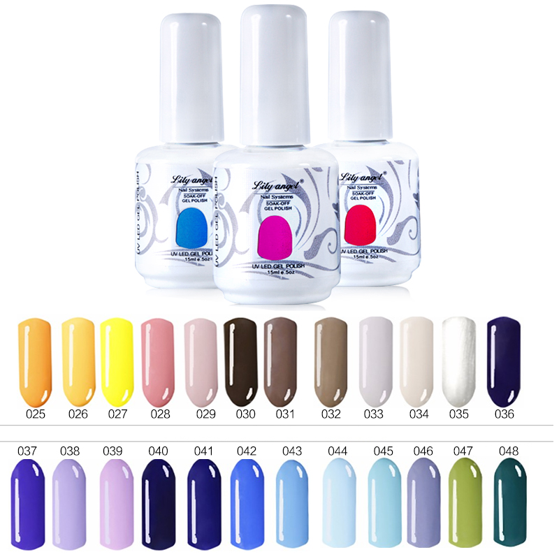Lily angel 1 unids 15 ml 72 colores Esmalte de Uñas de Gel UV LED Soak Off Gel Esmalte de Uñas DIY Nail Art Salon Top Coat Base Coat NO.25-48