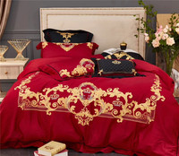 Luxury Red Wedding Golden Crown Embroidery 100S Egyptian Cotton Bedding Set Duvet Cover Bed sheet Pillowcases Queen King size