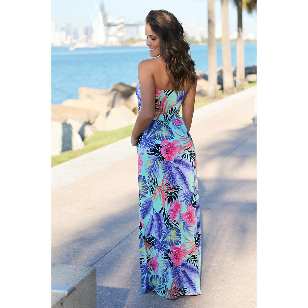 e79d68fd6a4 Fashion 2018 Summer Women Long Dresses Beach Boho Sexy Dress Elegant Party  Strapless Printed Flower Women s Casual Holiday Dress