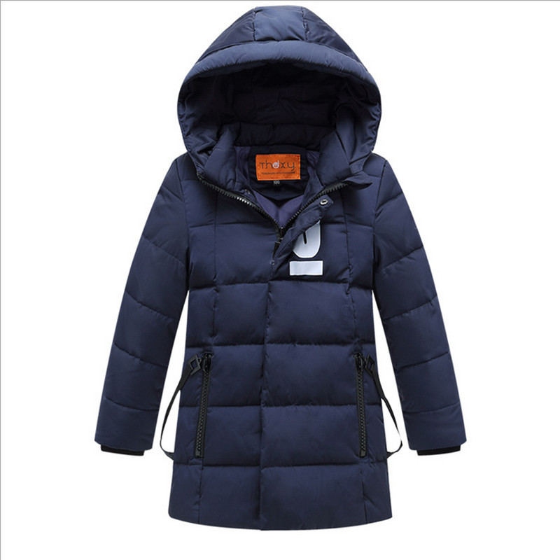 ФОТО 2016 winter new boy long down jacket Outerwear Coats hooded solid  thick warm brand Down Parkas for 2-7T boys 5 colors