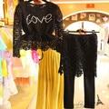 Nueva primavera de encaje negro gris bordado de diamantes de manga larga mujer blusas y pantalones de la falda para las mujeres clothing set fz14may030