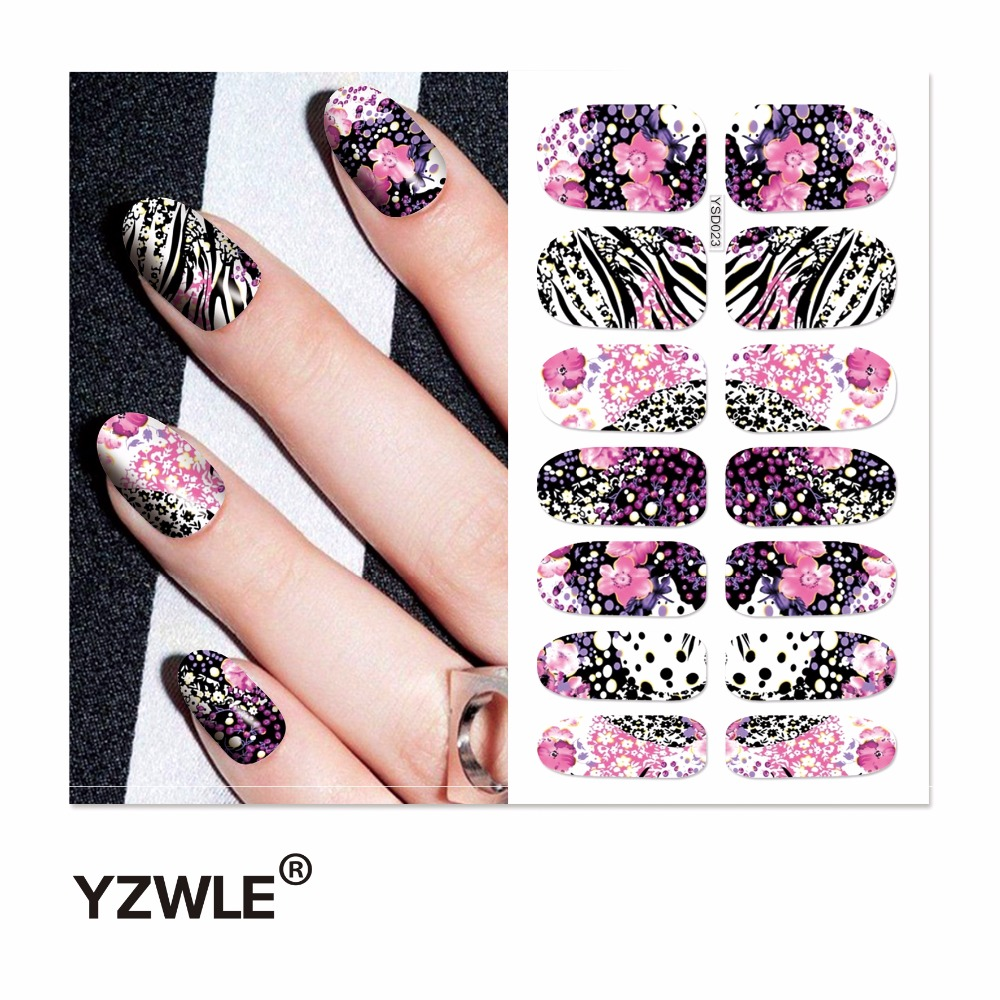 YZWLE 1 Sheet Water Transfer Nails Art Sticker Manicure Decor Tool Cover Nail Wrap Decal (YSD023) yzwle 3d french style white lace bow nail art sticker decal manicure tip nail art decoration xf ju079