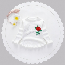 Autumn Baby Girls Long Sleeve O Neck Rose Ruffles Knitwear Sweater Kids Princess Casual Pullover Jumper Infant Clothes