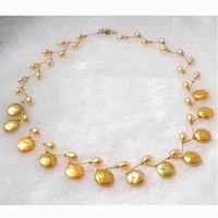 Classck Handwork 5 12mm Golden Round Coin Freshwater Pearl Necklace,Fashion Women Pearl Jewellery,New Free Shipping