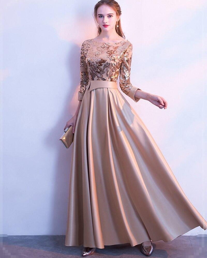 Une ligne paillettes or robes De soirée 2019 longues robes De bal Robe De soirée Robe formelle femmes élégante Robe De soirée