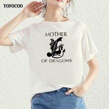 YOFOCOO Dracarys Women T-Shirt Mother of Dragons Print Vogue Funny Game Thrones Tops Summer Tee Femme Shirt
