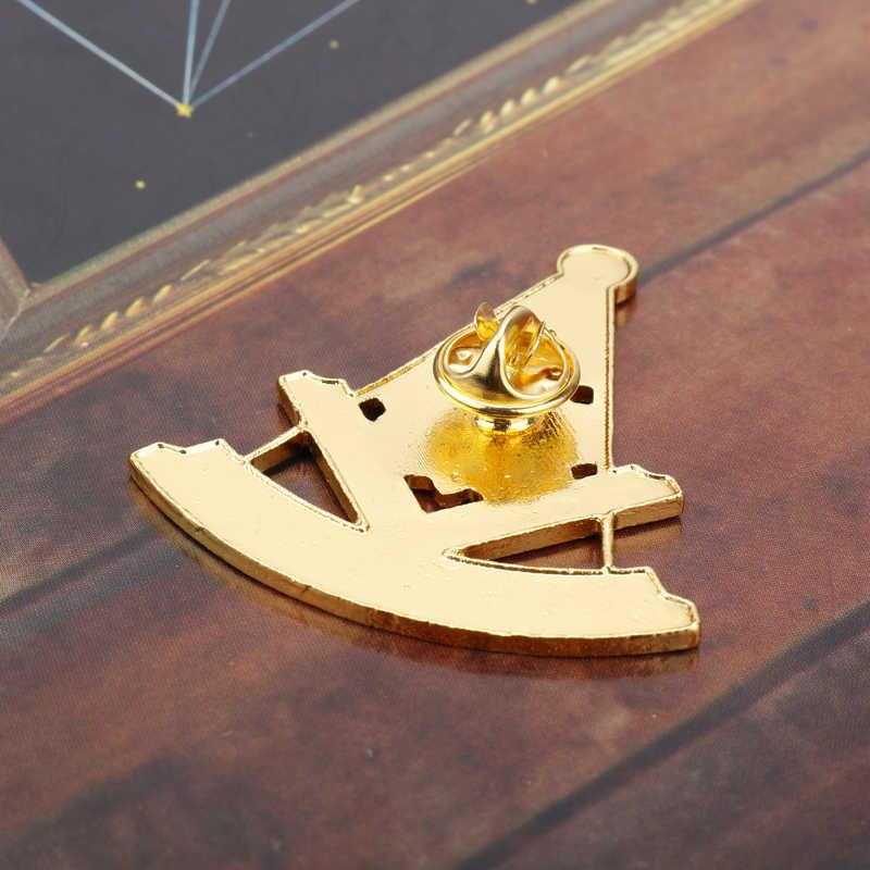 HANCHANG Masonic broche Pins masonería Mason símbolo miembro broches para hombres Lapel Pins aleación esmalte broche insignia