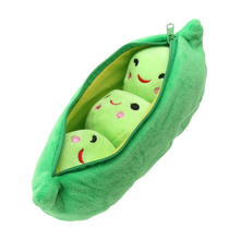 25CM Cute Pods Pea Shape Stuffed Plant Doll Creative Soft 3 Beans with Cloth Case Lovely